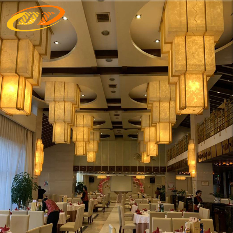 内蒙帝豪国际酒店异形透光石吊顶灯具